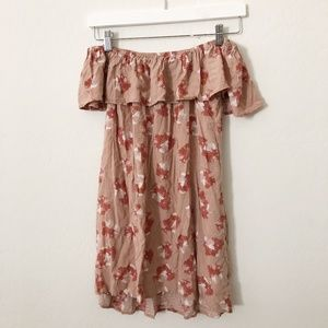 Honey Punch Tan Pink Off the shoulder dress